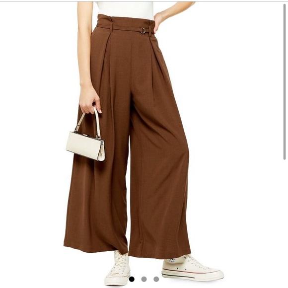 Topshop brown wide leg trousers